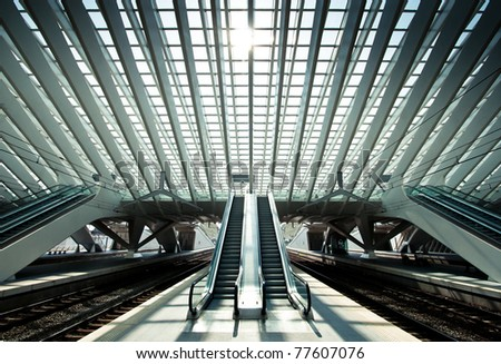 Ultra modern train station in Liege, Belgium - stock photo