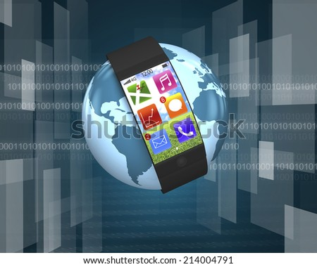 ultra slim curved-screen smart watch with apps on globe with tech-digital background - stock photo