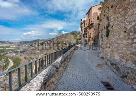 Ultra wide angle view of vintage stone track in Cuenca