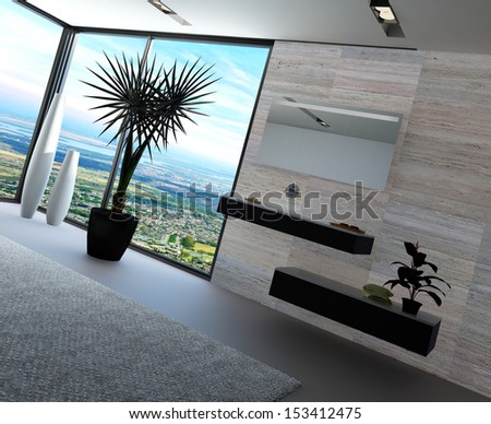 Ultramodern bathroom interior with luxury furniture and marble wall and panoramic view - stock photo