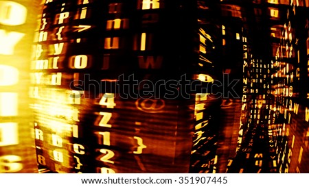 Ultramodern digital data tech display with letters, numbers and light effects. - stock photo