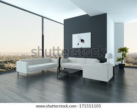 Ultramodern Loft Living Room Interior - stock photo