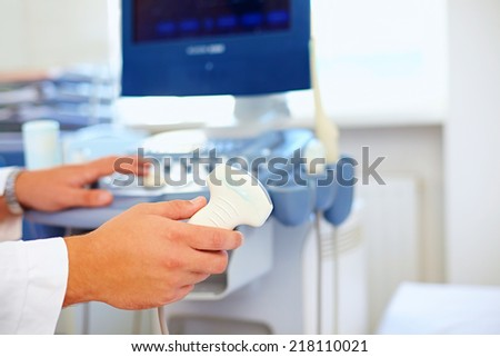 ultrasound sensor of modern ultrasonic scanner - stock photo