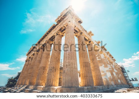 Ultrawide shot of ruins of Parthenon temple of goddess Athena in Acropolis, Athens, Greece - stock photo