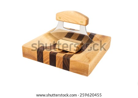 Ulu on a Chopping Block Isolated on White - stock photo