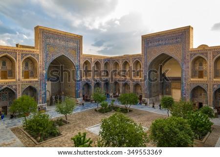 Ulugh Beg Madrasah, Registan, Samarkand, Uzbekistan - stock photo