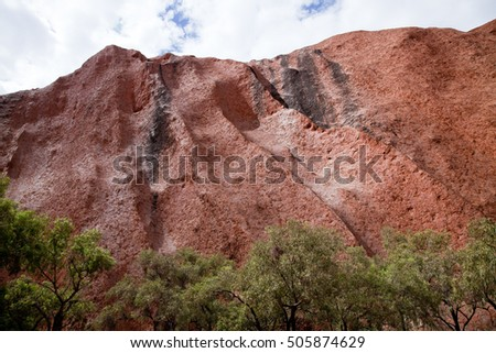 Uluru - Ayers Rock. Aboriginal sacred place. UNESO world heritage. Red sandstone rock closeup with day changing color painting. PR available - image approved for commercial use by Park authorities.