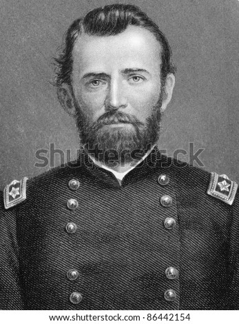 Ulysses S. Grant (1822-1885). Engraved by anonymous engraver and published in The History of England, United Kingdom, 1872. - stock photo