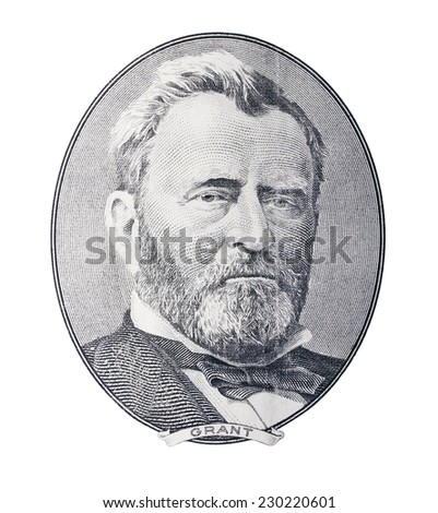 Ulysses Simpson Grant. Qualitative portrait from 50 dollars banknote in white background - stock photo