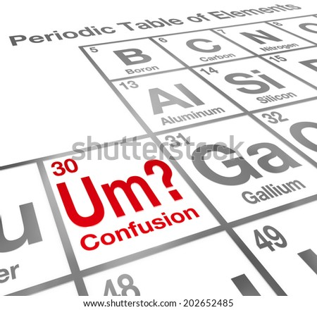 Um the Element of Confusion words on a periodic table difficult lesson, misunderstanding  - stock photo