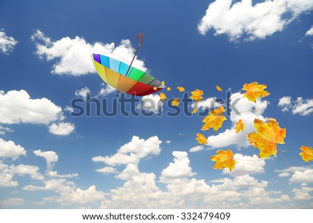 Umbrella and autumn leaves flying in blue sky