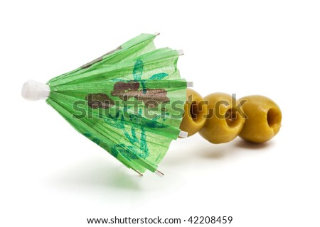 umbrella and olives - stock photo
