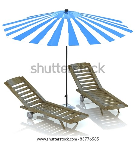Umbrella and Plank bed