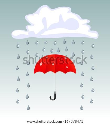 Umbrella and rain drops - stock photo
