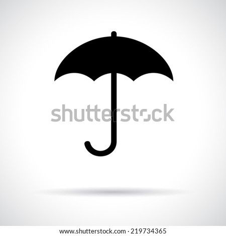 Umbrella. Black flat icon with shadow. Safety, protection, rain, autumn season concept. Vector version is also available in the portfolio. - stock photo