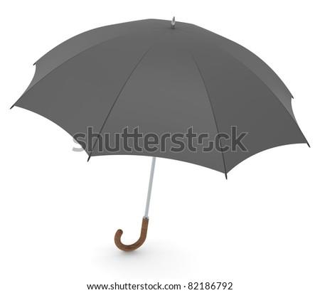 Umbrella. Black vintage style umbrella. White background - stock photo