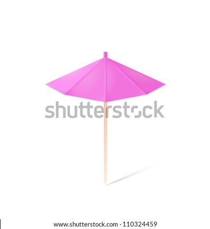 umbrella for drink isolated on white - stock photo