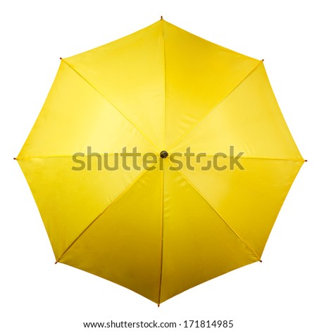 Umbrella from above isolated on white background. Yellow umbrella top on white - stock photo