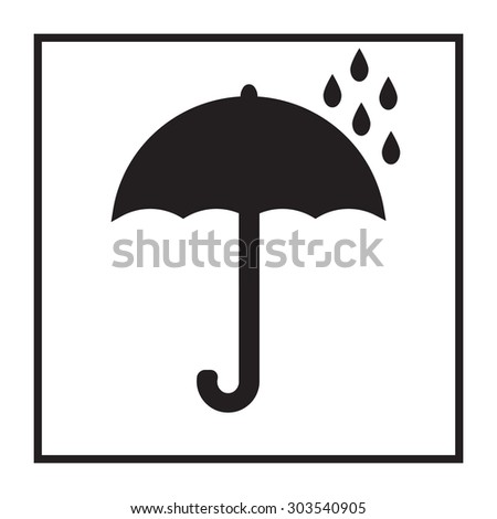 Umbrella icon. Fragile or packaging symbol.   - stock photo