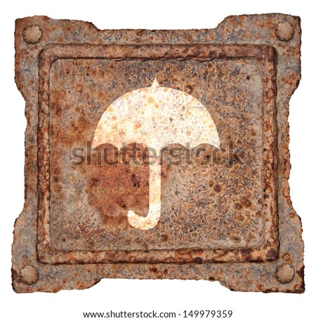 Umbrella icon old metal, isolated on white background - stock photo