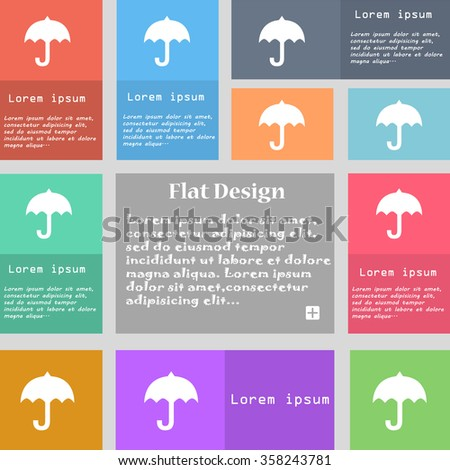umbrella icon sign. Set of multicolored buttons with space for text. illustration - stock photo