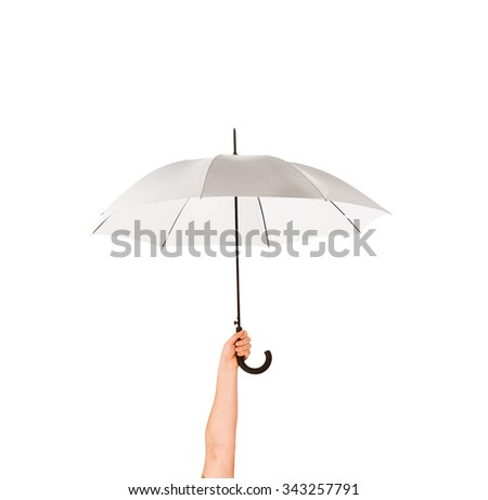 Umbrella in a hand isolated on white