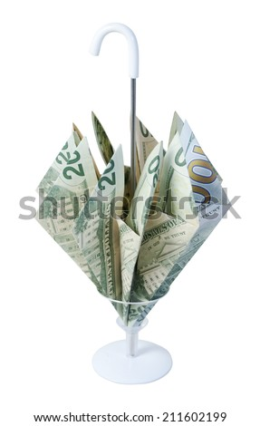 Umbrella made up of Money for a Rainy Day - stock photo