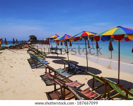 umbrella on beach and blue sky summer - stock photo