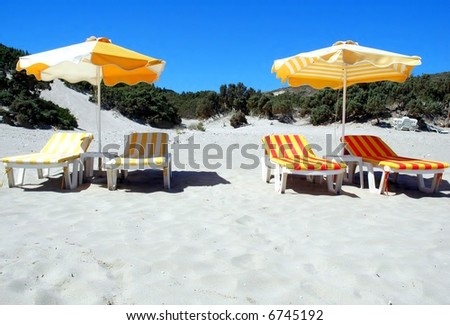 umbrella on sands beach - stock photo