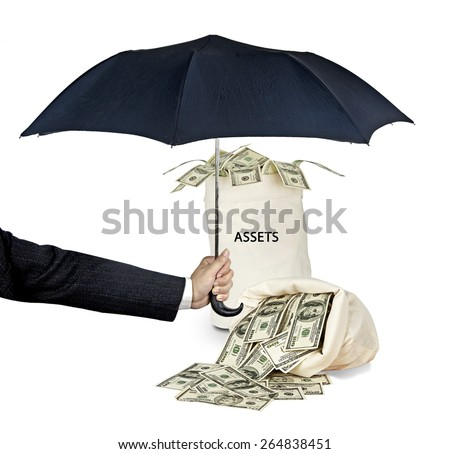 Umbrella protecting assets - stock photo