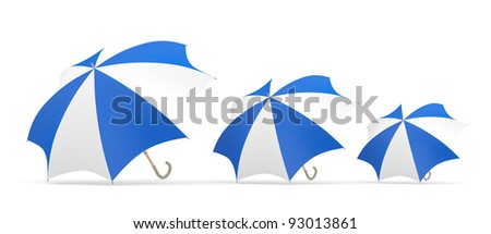 Umbrella. Three 3D blue and white models - stock photo