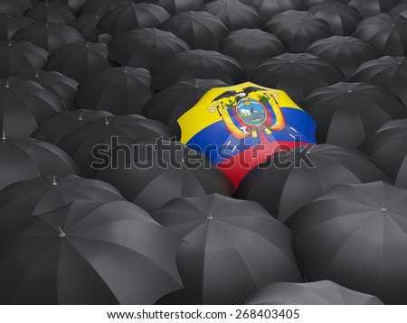 Umbrella with flag of ecuador over black umbrellas - stock photo