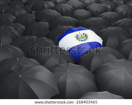 Umbrella with flag of el salvador over black umbrellas - stock photo