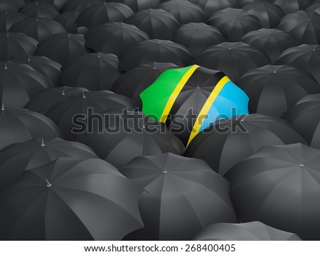 Umbrella with flag of tanzania over black umbrellas - stock photo