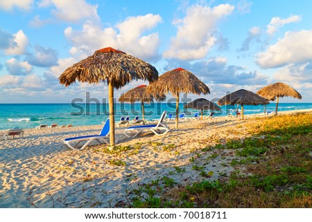 Umbrellas and chairs in the beautiful cuban beach of Varadero
