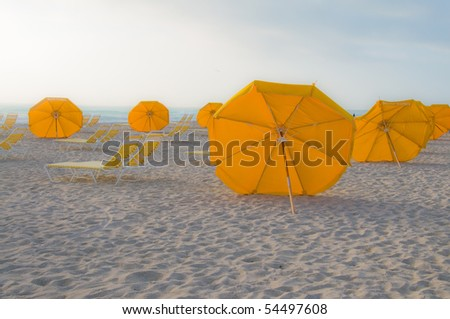 Umbrellas on South Beach in Miami, Florida