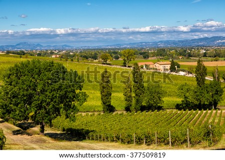 Umbria, Italy, rural landscape with the small house and vineyard