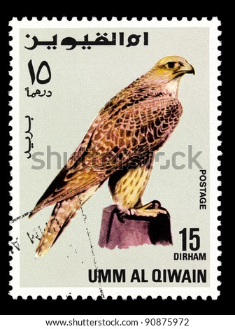 UMM AL QIWAIN - CIRCA 1968: A stamp printed in Umm al Qiwain shows eagle, series devoted to the birds, circa 1968