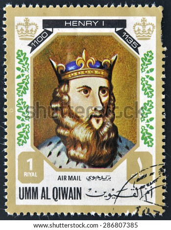 UMM AL QIWAIN - CIRCA 1980: A stamp printed in Umm Al Qiwain shows King Henry I, circa 1980 - stock photo