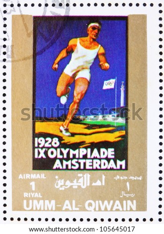 UMM AL-QUWAIN - CIRCA 1972: a stamp printed in the Umm al-Quwain shows Amsterdam 1928, Netherlands, Olympic Games of the past, circa 1972