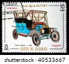 UMM QIWAIN- CIRCA 1968: A stamp printed in one of the emirates in the United Arab Emirates shows vintage car Ford model T - 1909 year,full series - 48 of stamps, circa 1968 - stock photo