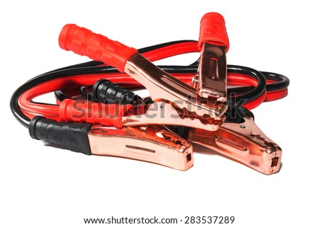 umper cables for jump starting a car - stock photo