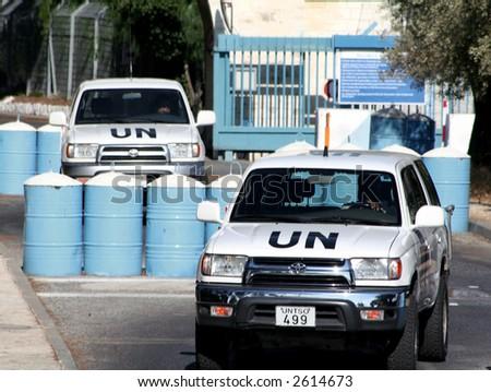 UN Convoy leaving a secure compound - stock photo