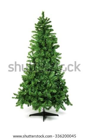 Unadorned Christmas tree isolated on white - stock photo