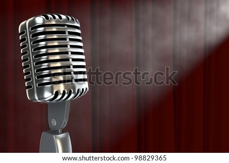 Unattended old fashioned microphone in a smoke filled room with copyspace