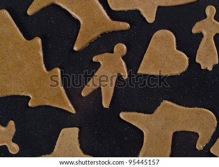 Unbaked Gingerbread on black background