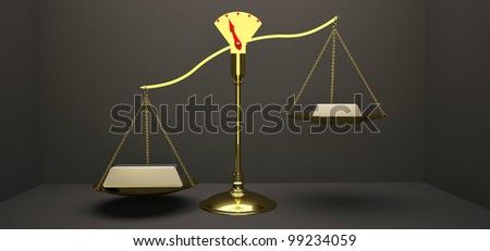 Unbalance Scales with object. - stock photo