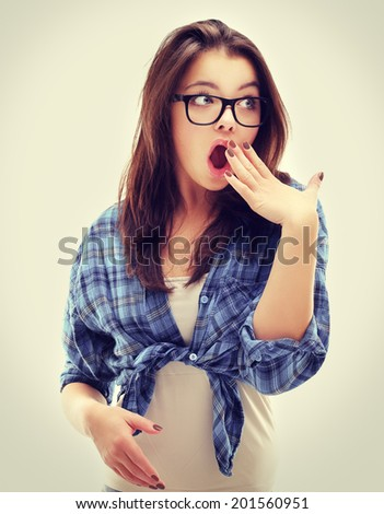 Unbelievable .Portrait of surprised girl  with mouth open. - stock photo