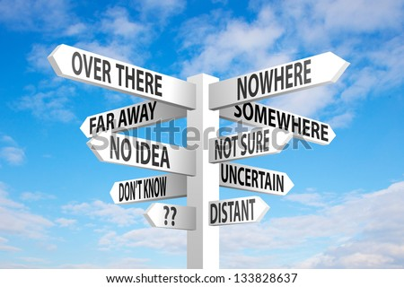 Uncertain direction sign post on blue sky background