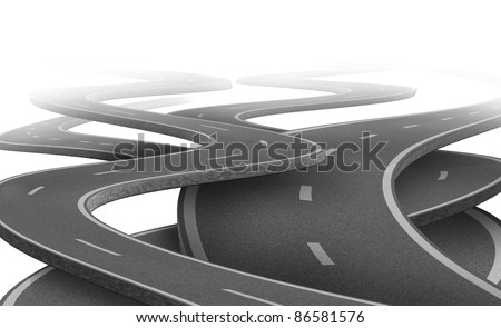 Uncertain path and  future as a strategy dilemma and concept of choosing the right strategic path for business after planning represented by tangled roads and highways in a confused direction. - stock photo